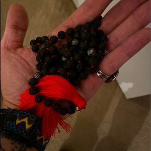 Lava Stone Mala 108 Beads Necklace Meditation